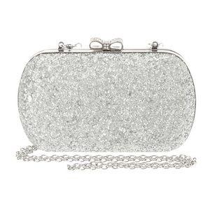 silver glitter clutch and rhinestones bow closure